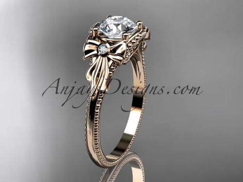 Moissanite Rose Gold Black Diamond Bow Bridal Ring ADLR376