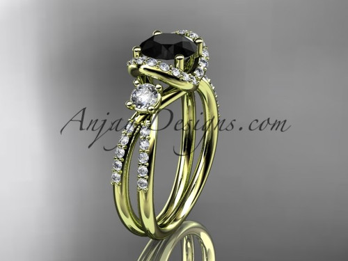 14kt yellow gold diamond unique engagement ring, wedding ring with a Black Diamond center stone ADER146