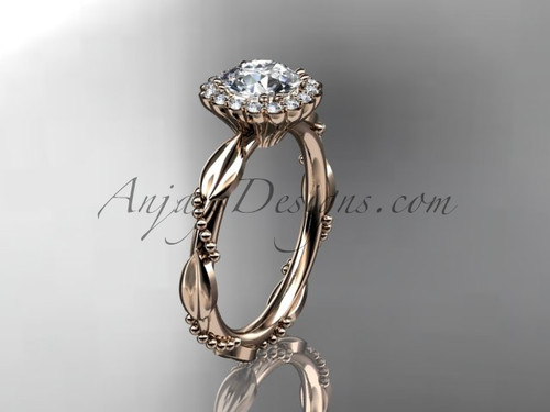 """14kt rose gold diamond leaf and vine wedding ring, engagement ring with a """"Forever One"""" Moissanite center stone ADLR337"""