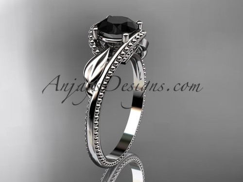 Unique 14kt white gold engagement ring with a Black Diamond center stone ADLR322