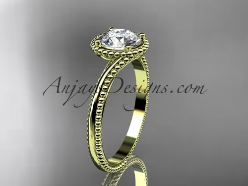 """14kt yellow gold  wedding ring, engagement ring with a """"Forever One"""" Moissanite center stone ADLR389"""
