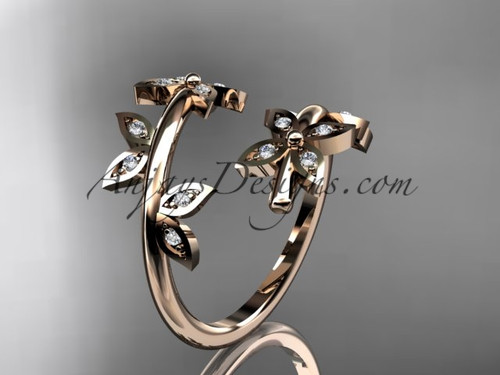 14k rose gold diamond leaf and vine wedding ring,engagement ring,wedding band ADLR27