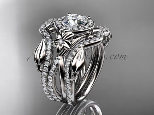 """14kt white gold diamond leaf and vine, flower engagement ring, wedding ring,  with  """"Forever One"""" Moissanite center stone and double matching band ADLR89S"""