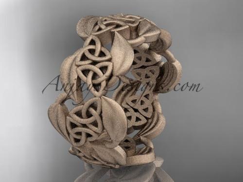 14kt rose gold leaf and celtic trinity knot wedding band, matte finish wedding band, engagement ring CT7262G