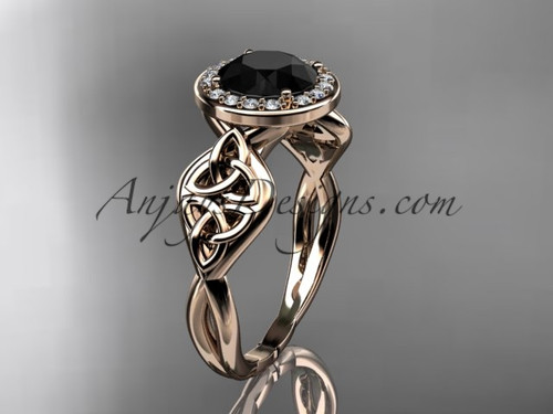 14kt rose gold diamond celtic trinity knot wedding ring, engagement ring with a Black Diamond center stone CT7219