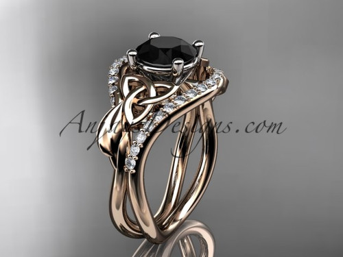 14kt rose gold diamond celtic trinity knot wedding ring, engagement ring with a Black Diamond center stone CT7244