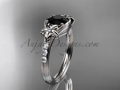 Unique 14k white gold diamond leaf and vine, floral diamond engagement ring with a Black Diamond center stone ADLR333