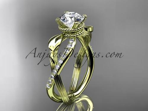 Moissanite Diamond Yellow Gold Flower Wedding Ring ADLR70