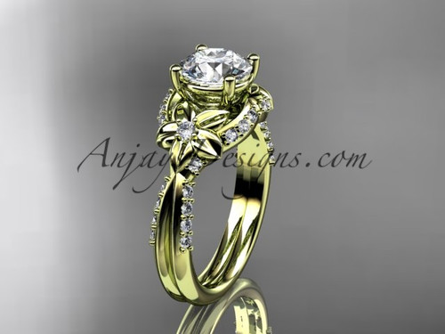 "Unique 14kt yellow gold diamond flower, leaf and vine wedding ring, engagement ring with a ""Forever One"" Moissanite center stone ADLR220"