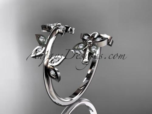14k white gold diamond leaf and vine wedding ring,engagement ring,wedding band ADLR27
