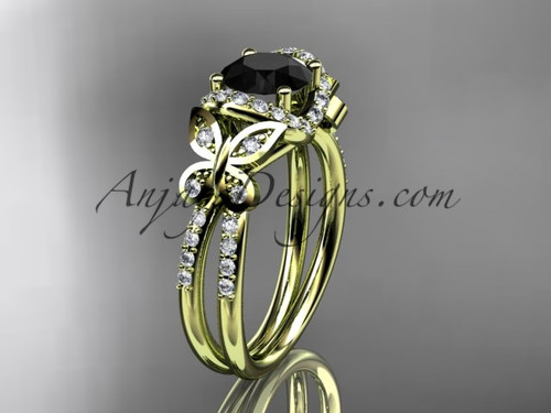14kt yellow gold diamond butterfly wedding ring, engagement ring with a Black Diamond center stone ADLR141