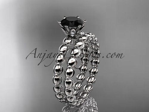 platinum diamond wedding ring, engagement set with a Black Diamond  center stone ADLR34S