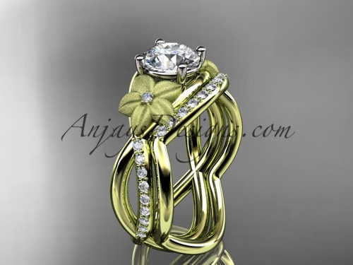 "14k yellow gold diamond leaf and vine wedding ring, engagement set with a ""Forever One"" Moissanite center stone ADLR90S"
