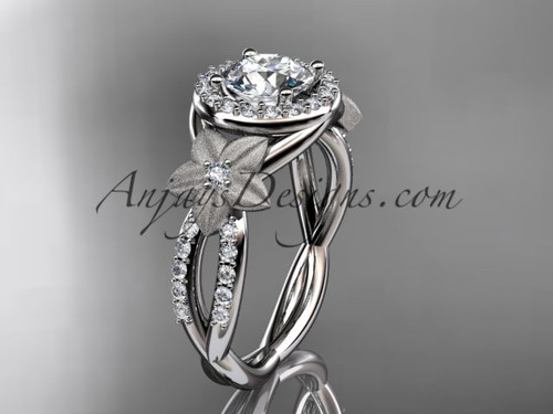 """14kt white gold diamond floral wedding ring, engagement ring with a """"Forever One"""" Moissanite center stone ADLR127"""