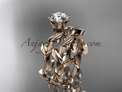 Unique 14kt rose gold diamond floral wedding ring, engagement set ADLR248S