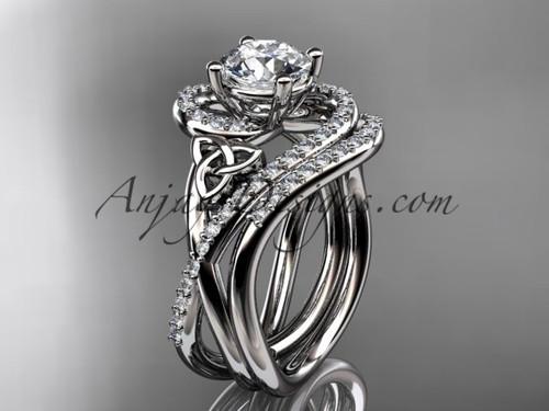 14kt white gold diamond celtic trinity knot wedding ring, engagement set CT7320S