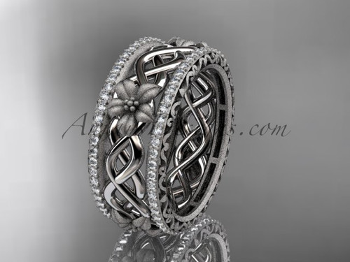 14k white gold  diamond flower wedding band, engagement ring ADLR260B