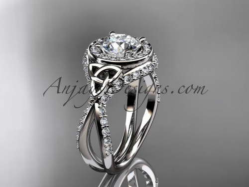 """14kt white gold diamond celtic trinity knot wedding ring, engagement ring with a """"Forever One"""" Moissanite center stone CT7416"""