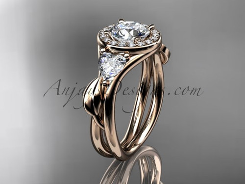 """14kt rose gold diamond unique engagement ring, wedding ring with a """"Forever One"""" Moissanite center stone ADLR314"""
