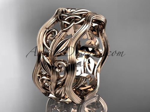 Celtic Wedding Band, Rose Gold Trinity Bridal Ring CT7263G