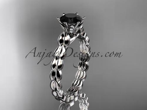 platinum diamond vine and leaf wedding ring, engagement ring with  Black Diamond center stone ADLR35