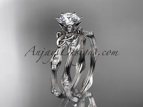 """14kt white gold diamond celtic trinity knot wedding ring, engagement set with a """"Forever One"""" Moissanite center stone CT7132S"""