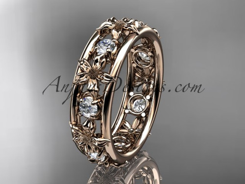 Nature Inspired Floral Ring, Rose Gold Wedding Band ADLR160B