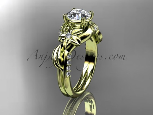 """Unique 14k yellow gold diamond flower, leaf and vine wedding ring, engagement ring with a """"Forever One"""" Moissanite center stone ADLR224"""