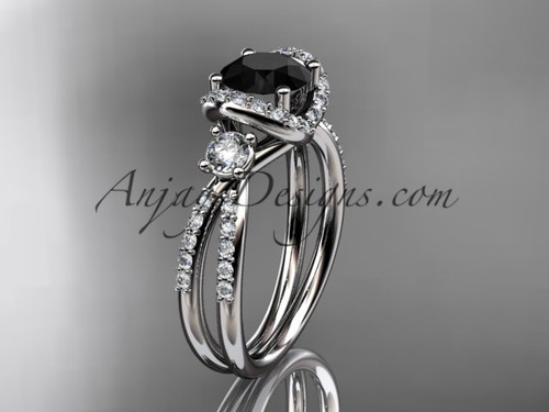platinum diamond unique engagement ring, wedding ring with a Black Diamond center stone ADER146