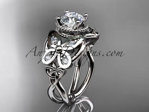 """14kt white gold diamond celtic trinity knot  wedding ring,butterfly engagement ring  with a """"Forever One"""" Moissanite center stone CT7136"""