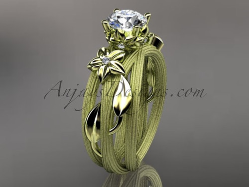 14kt yellow gold diamond floral,leaf and vine wedding ring, engagement ring ADLR253
