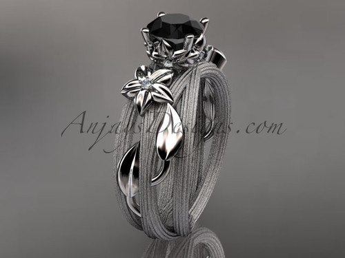 Platinum diamond floral, leaf and vine wedding ring, engagement ring with a Black Diamond center stone ADLR253