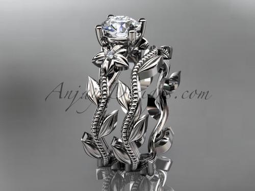 Unique 14k white gold diamond floral wedding ring, engagement set ADLR238S