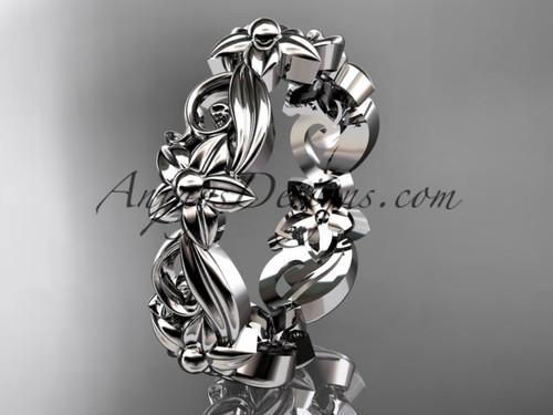 14kt white gold leaf and flower engagement ring, wedding band ADLR217G
