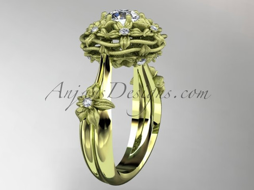 """14kt yellow gold diamond floral, leaf and vine \""""Basket of Love\"""" ring ADLR94 nature inspired jewelry"""