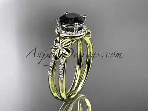 Flower Bridal Rings, Yellow Gold Black Diamond Ring ADLR373