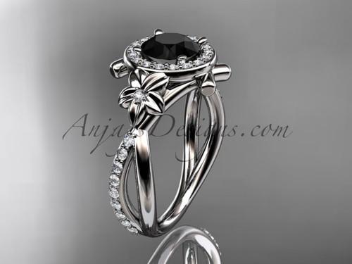 Platinum diamond leaf and vine wedding ring, engagement ring with a  Black Diamond center stone ADLR89