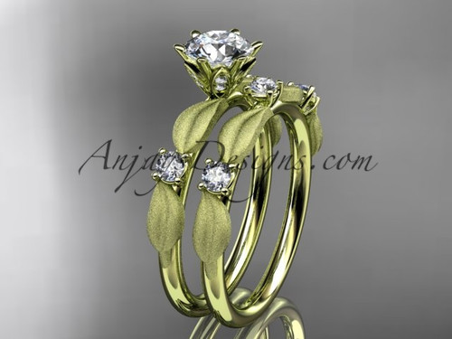 """14kt yellow gold diamond unique leaf and vine engagement set, wedding set with a """"Forever One"""" Moissanite center stone ADER177S"""