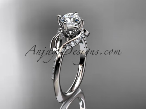 Unique platinum diamond  leaf and vine wedding ring, engagement ring ADLR225