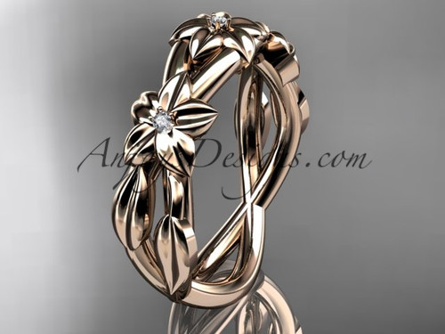 14kt rose gold diamond leaf wedding ring, engagement ring, wedding band ADLR204B