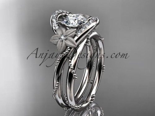 Flower Proposal Ring, White Gold Diamond Unique Engagement Ring, Bridal Ring Set ADLR166S