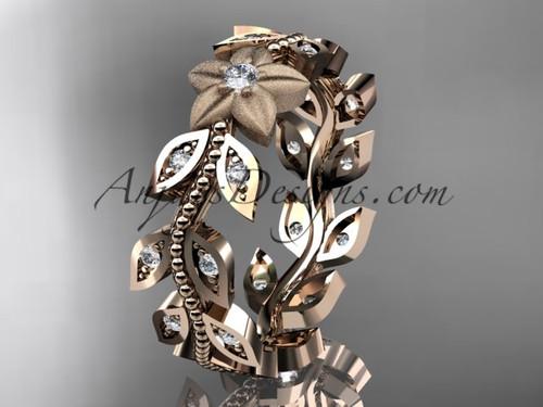 14kt rose gold diamond flower, leaf and vine wedding ring, engagement ring, wedding band ADLR161B
