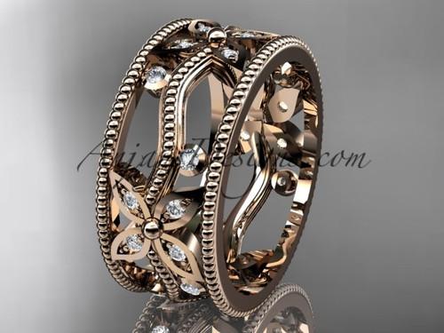 14kt rose gold diamond leaf and vine wedding ring, engagement ring, wedding band ADLR9B