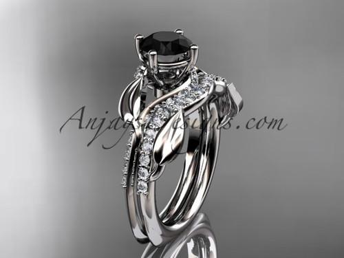Unique 14k white gold diamond  leaf wedding ring, engagement set with a Black Diamond center stone ADLR225S