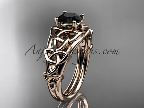 14kt rose gold celtic trinity knot engagement ring , wedding ring  with a Black Diamond center stone CT765