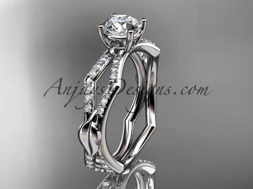 platinum diamond leaf and vine wedding ring,engagement ring ADLR353