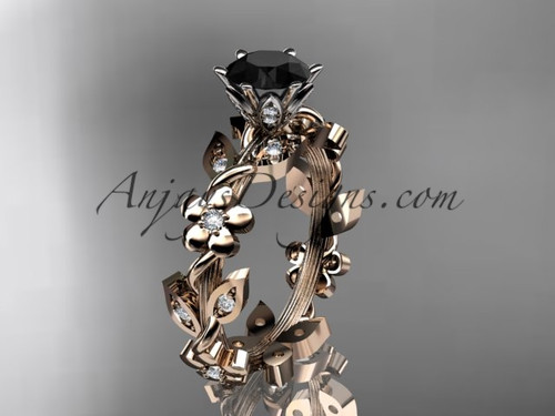 14kt rose gold diamond leaf and vine engagement ring with a Black Diamond center stone ADLR209