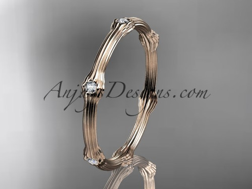 14k rose gold diamond vine wedding band, engagement ring ADLR37B