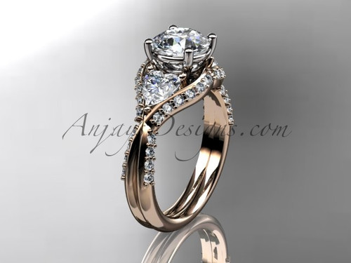 """Unique 14kt rose gold diamond wedding ring, engagement ring with a """"Forever One"""" Moissanite center stone ADLR319"""