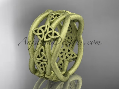Yellow Matte Finish Gold Celtic Unusual Wedding Band CT7519G